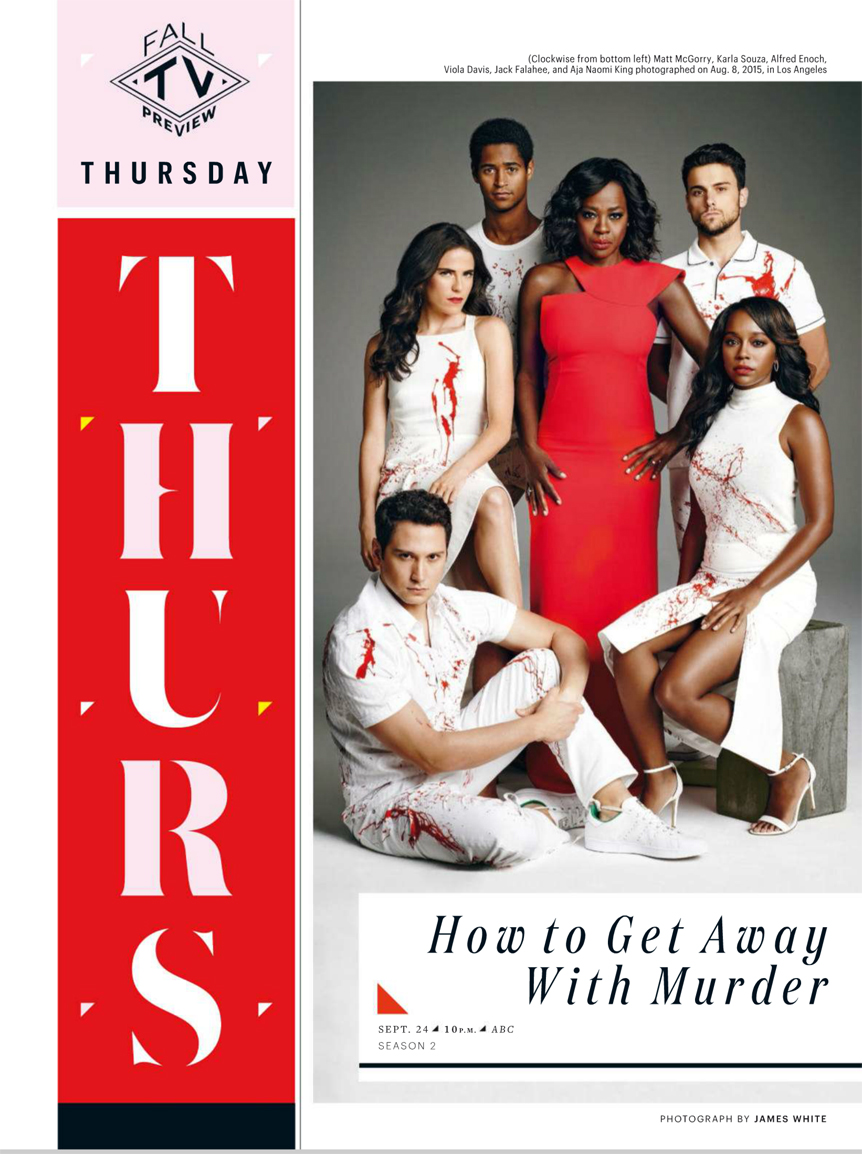 The cast of How To Get Away With Murder in Entertainment Weekly - September 18, 2015