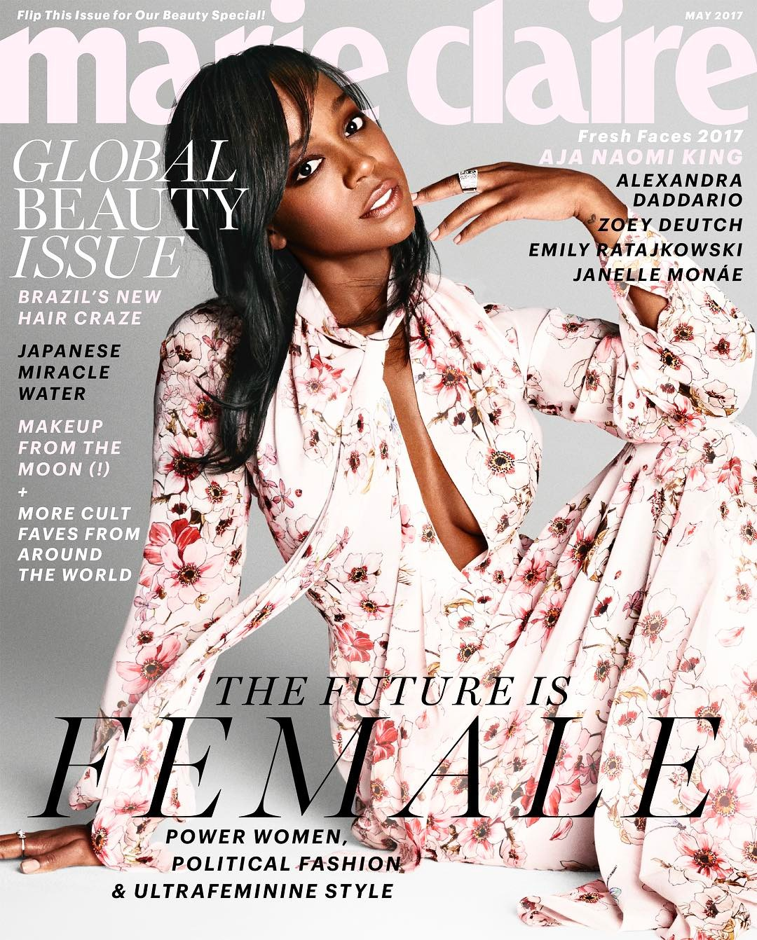 Aja Naomi King covers Marie Claire's Fresh Faces May 2017 issue