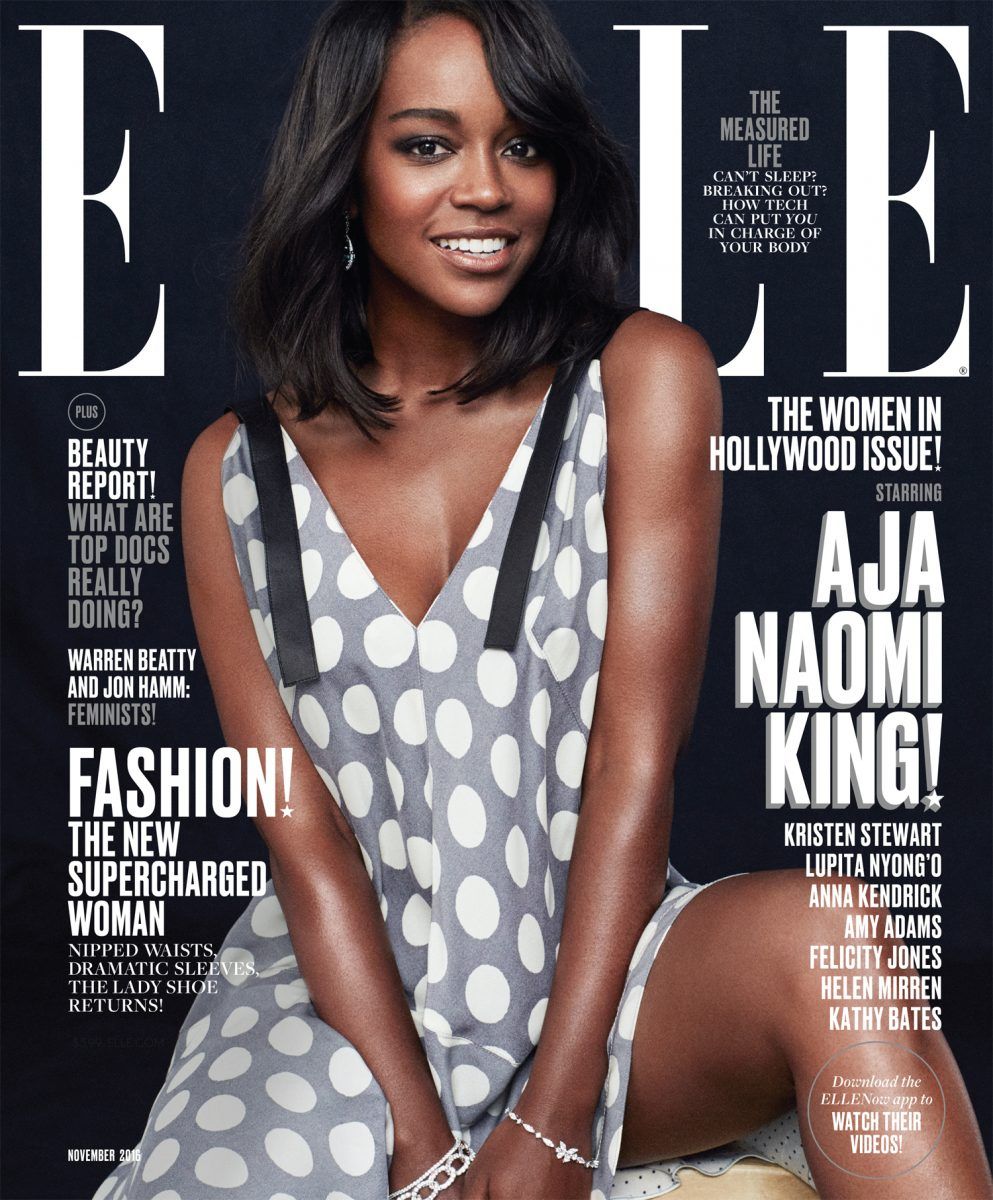 Aja Naomi King on the cover of Elle for their November 2016 Women in Hollywood issue