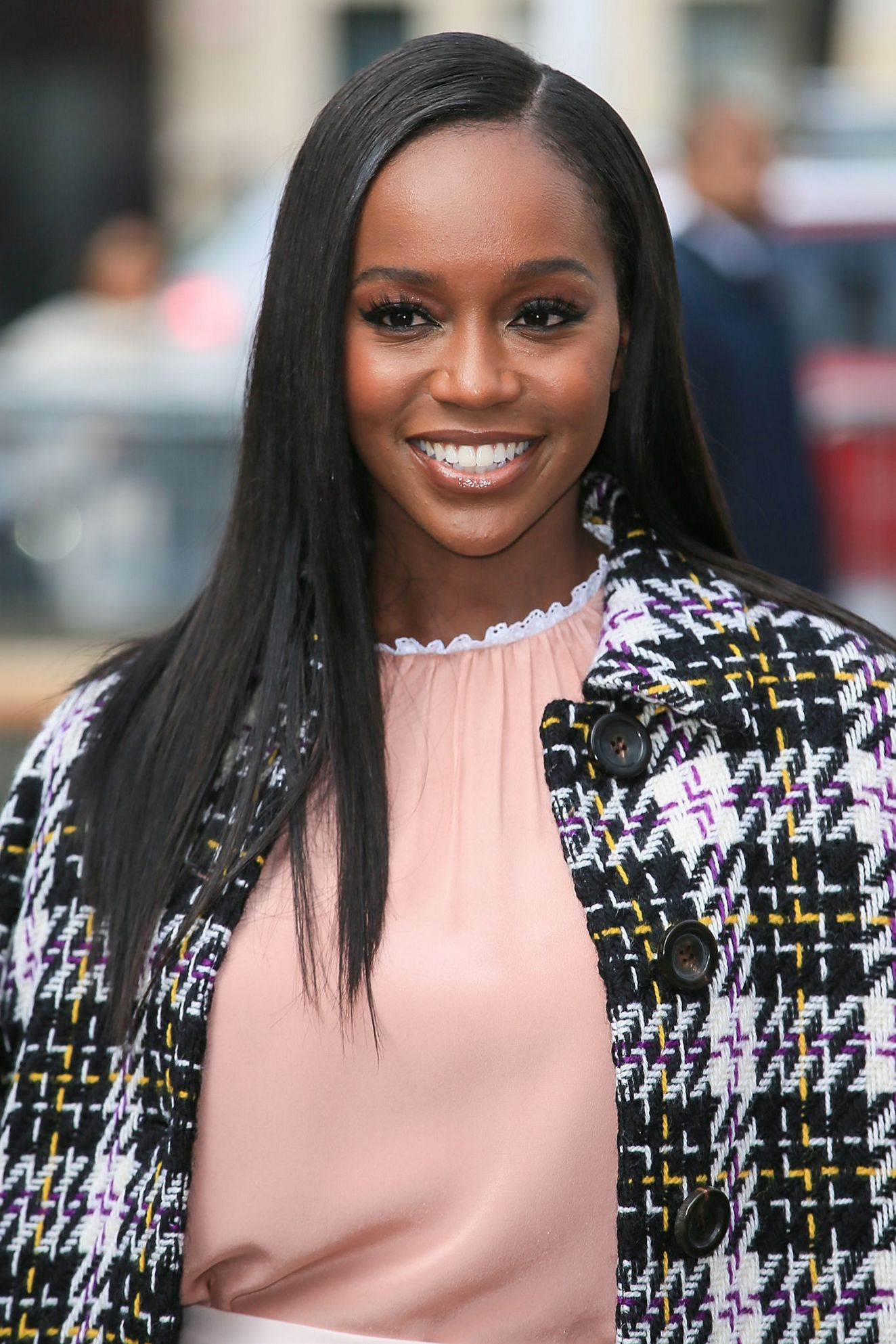 Aja Naomi King at Miu Miu Show during Paris Fashion Week